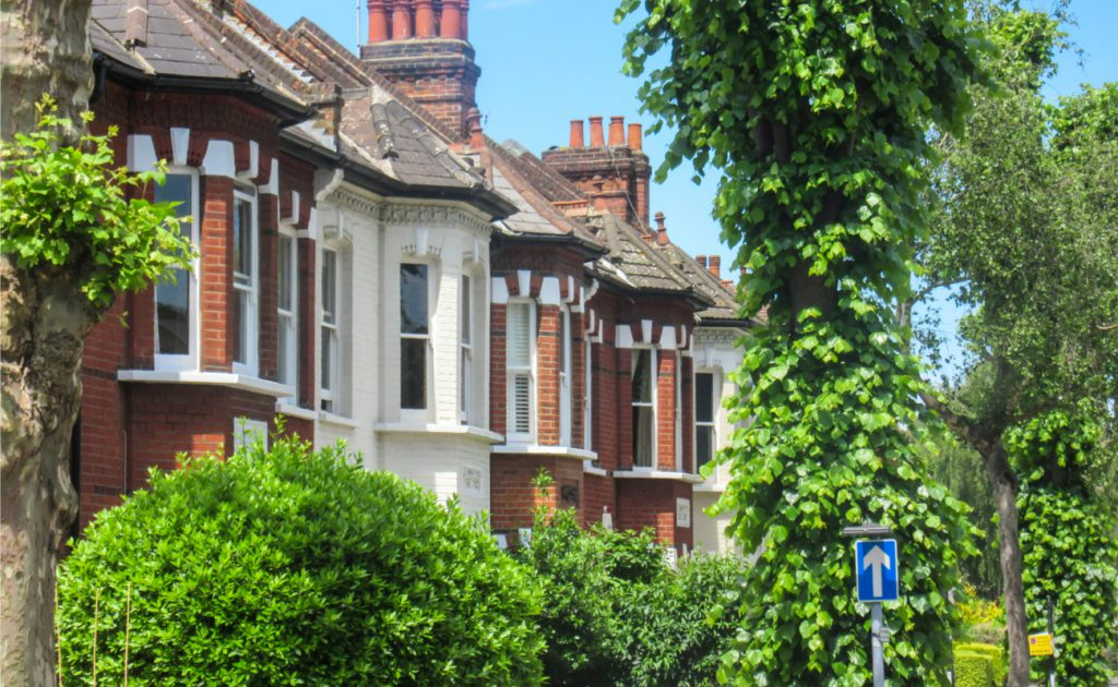row of houses surrounded by trees in Chiswick London