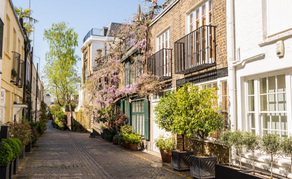row of houses on cobblestone street in South London