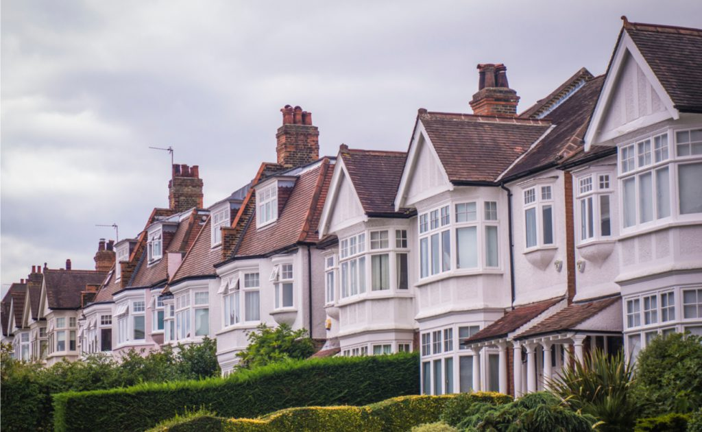 row of Edwardian houses in Wimbledon London