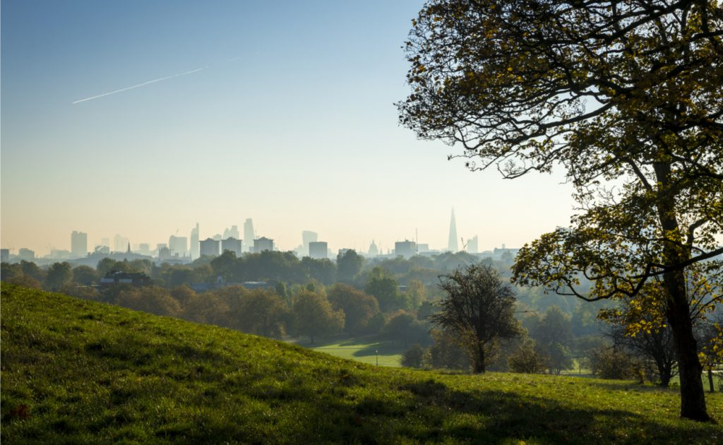 landscape view of London Primrose Hill Park in North London