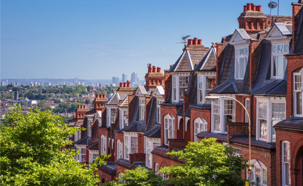 row of brick houses in Muswell Hill London