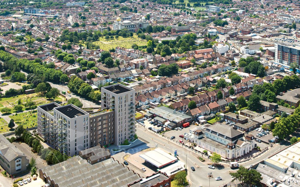 aerial view of Southall in London showing Greenview Court