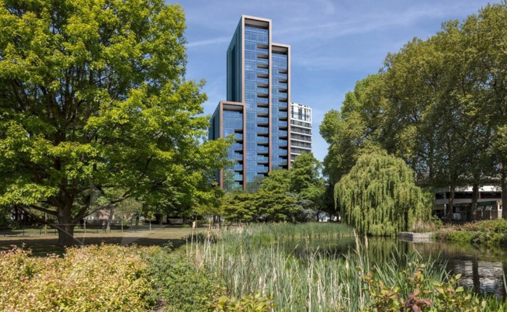 new Bronze apartment building in Wandsworth London