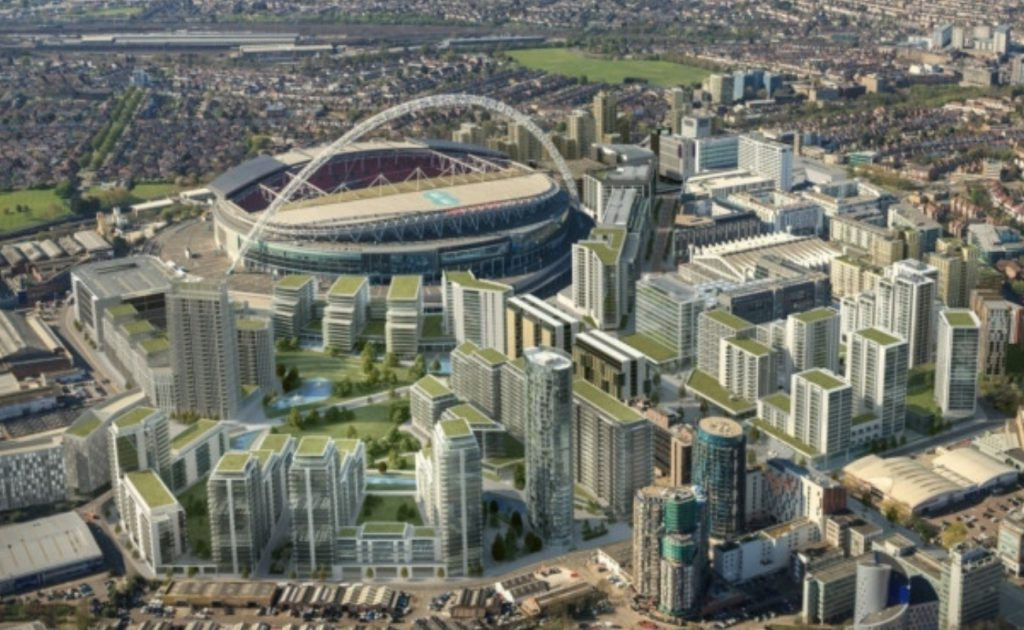 aerial view of Wembley Stadium and surrounding apartment buildings