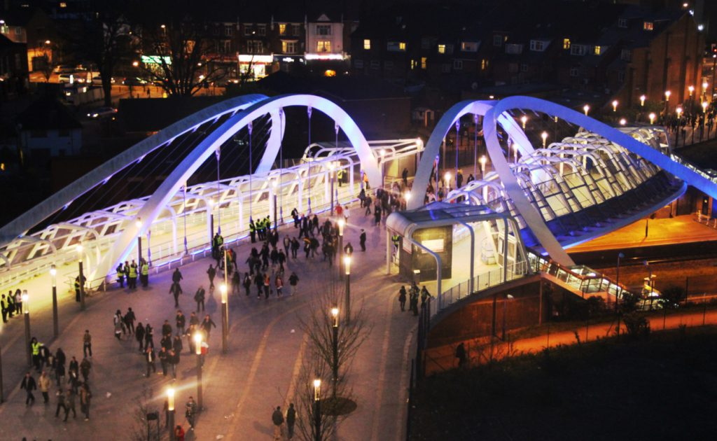 aerial view of Wembley Bridge at night