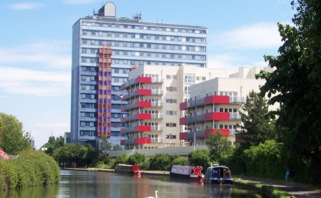 new apartment buildings on the Grand Union Canal in Wembley