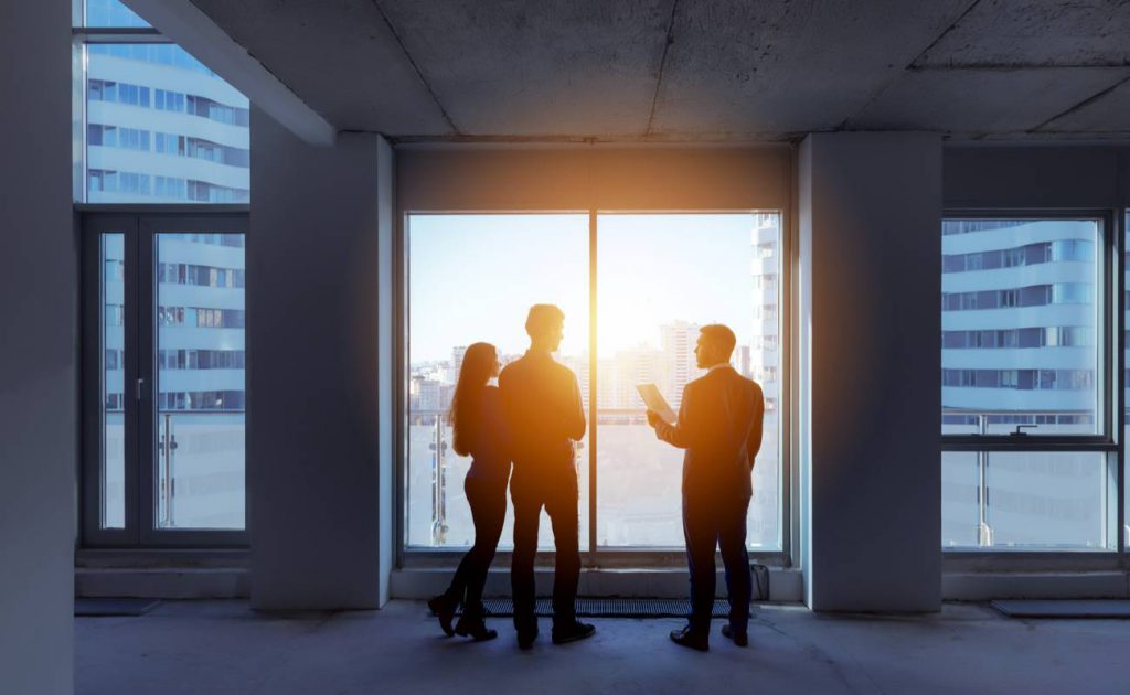 silhouette of estate agent showing couple an empty apartment