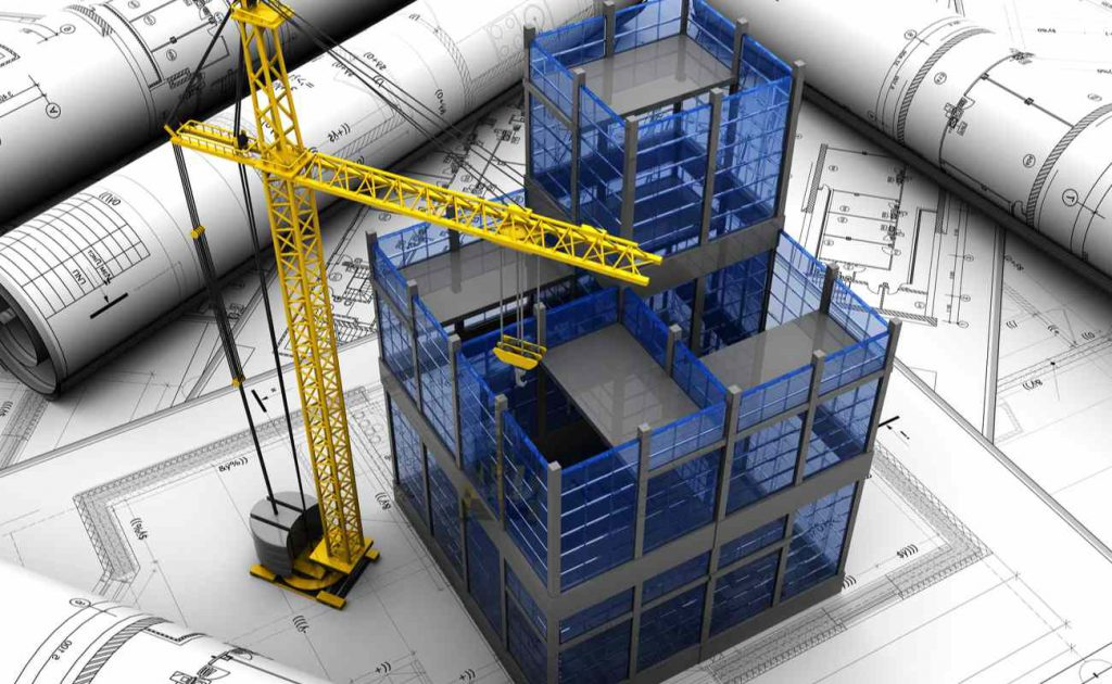 3D rendering of high rise building construction with crane and blueprints