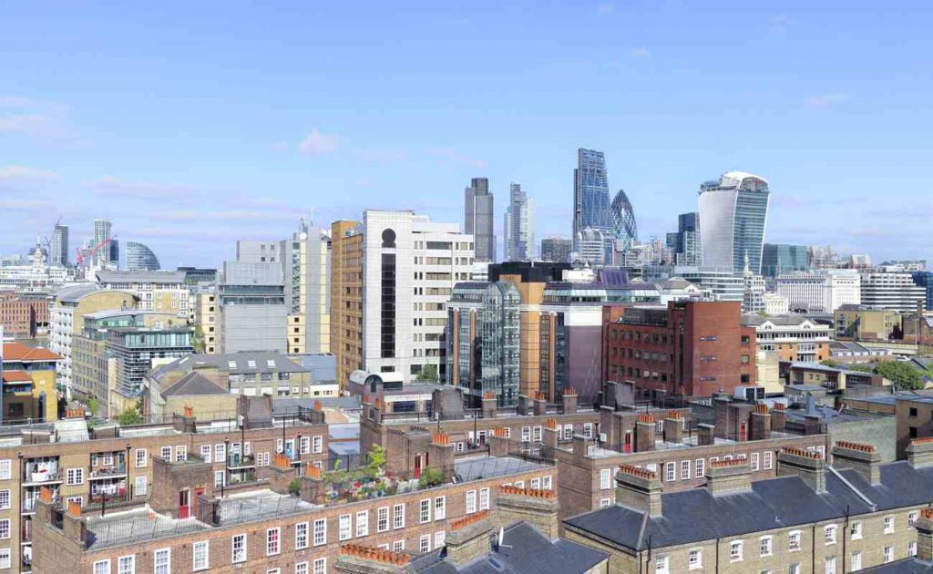 Daytime view over London inner city apartments and buildings